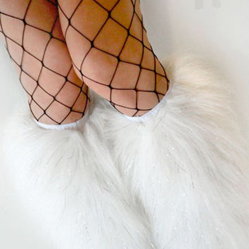 MADE TO ORDER uv GliTTeR WhITE Fluffies Fuzzy Leg Warmers fluffy boot covers rave gogo costume festival leggings