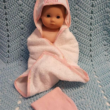 "Baby doll bath towel set made to fit Bitty Baby or up to 15 inch doll ""Piglet"" F3"