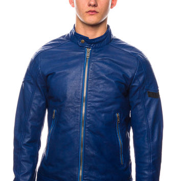 Diesel L-Monike Royal Blue Leather Jacket