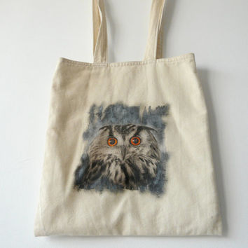 Owl Tote Bag, Cotton Canvas Tote Bag, Owl Handbag, Reusable Grocery Tote, Shopping Bag, Books Hand Bag