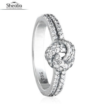 925 Sterling Silver Love Knot Feature Rings For Women Girls Fashion CZ Crystal European Brand Engagement Rings Mother's Gift