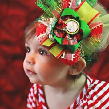 Christmas disney hair bow, Christmas headband, Christmas baby girl hair bow, over the top hair bow, disney princess bow, cinderella bows ,