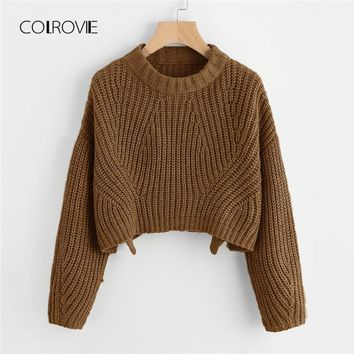 COLROVIE Yellow Chunky Vented Coffee Korean Winter Knitted Crop Sweater Women Grey Office Pullover Fashion Jumper