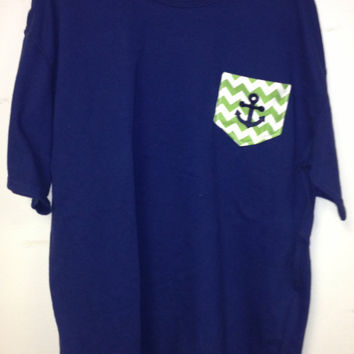 Nautical Anchor Mongorammed Chevron Stripe SHORT SLEEVE  Comfort Colors Pocket with anchor T Shirt