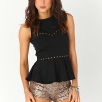 Missguided - Taina Studded Peplum Top