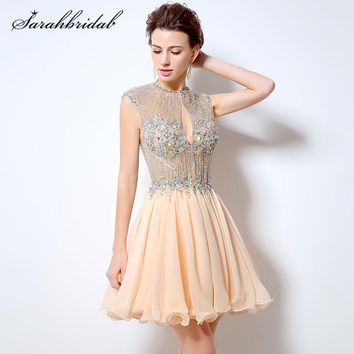 Short Prom/quinceañera Dress Beading A-Line Chiffon O-Neck Backless