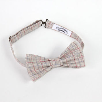 Plaid Linen Men's Bow Tie, Pre-tied, Blue, Beige & Pink Free Shipping