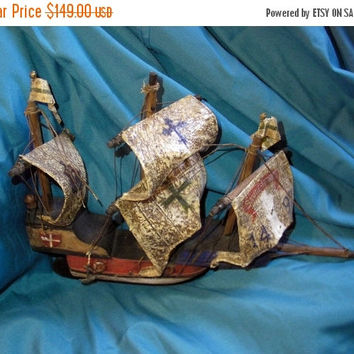 ON SALE Christopher columbus,santa-maria replica 1492,wooden boat,ship model,handmade vintage boat,sail boat