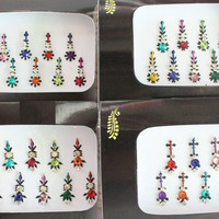2 Packs Colored Long Face Tattos Bindi Stickers,Bridal Bindis Stickers,Long Bindis,Fashion Bindis,Wedding Bindis,Self Adhesive Stickers