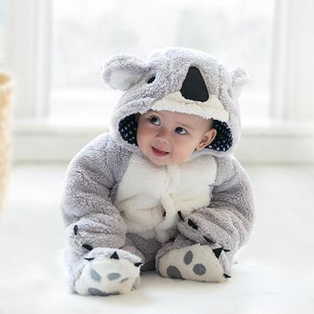 Free Shipping Winter Newborn Infant Baby Clothes Baby Boys Girls Thick Warm Cartoon Animal Hoodie Rompers Jumpsuit Outfit #YL