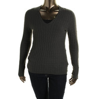 Charter Club Womens Plus Cashmere Cable Knit Pullover Sweater