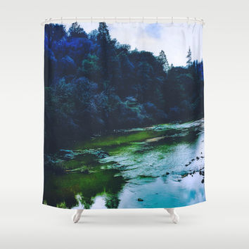 Blue Trees Shower Curtain by DuckyB (Brandi)