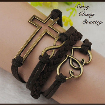 Multi Layered Dark Brown Friendship wrap Bracelet with Bronze Cross, Doubled Hearts & Infinity Symbol Charms ~ USA Seller ~ FAST Shipping!
