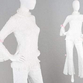 Vintage 60s 70s Sheer Lace Two Piece Pant Suit Bell Sleeves Flared Pants Ruffles Boho Negligee Alternative Wedding Trouser Suit White Flares