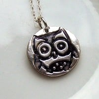 Owl Silver Necklace Artisan Silver .. on Luulla