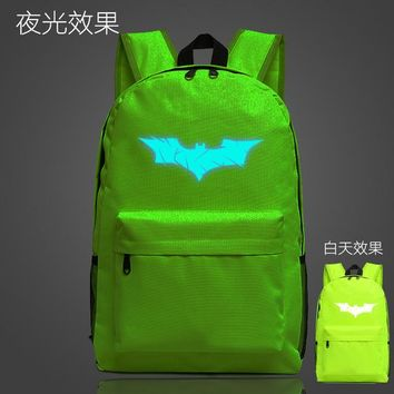 Student Backpack Children Bat Man Comic Super Hero School Bag noctilucous Luminous backpack Student bag Notebook backpack Daily backpack Glow in the Dark AT_49_3