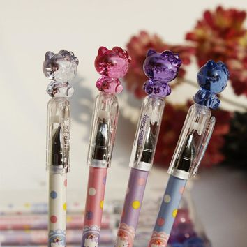 Y55 2X Cute Kawaii Hello Kitty Crystal Cap Gel Pen Writing Signing Pen School Office Supply Student Stationery Prize Gift