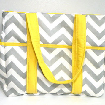 Chevron Diaper Bag Tote Nappy Bag Extra Large Gray and Yellow Grey