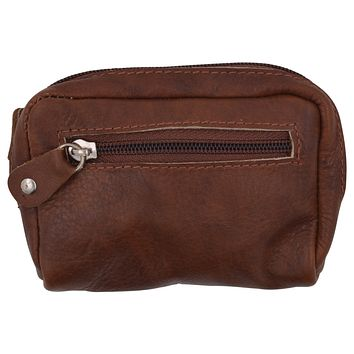 Women's Leather Zippered Small Coin Change Purse with 2 Key Ring Holders