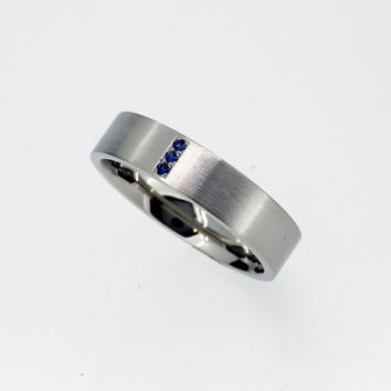 Blue Sapphire Wedding Band Made From Palladium, Man Wedding Ring, Matte  Finish, Wide