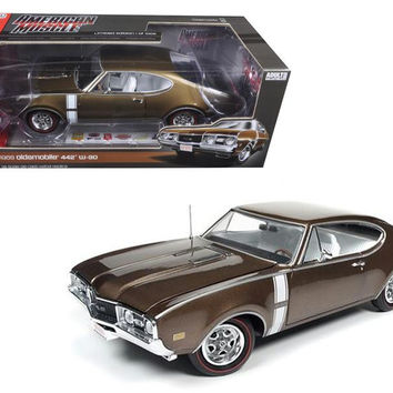 1968 Oldsmobile Cutlass 442 Hardtop Cinnamon Bronze Limited Edition to 1002pcs 1-18 Diecast Model Car  by Autoworld