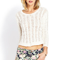 FOREVER 21 Relaxed Open-Knit Sweater Cream