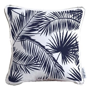Palm Leaves Silhouette Decorative Throw Velvet Pillow w/ Silver & White Reversible Sequins   COVER ONLY (Inserts Sold Separately)