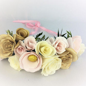 Paper flower crown, Blush wedding floral crown, Flower girl crown, Bridesmaid crown, Floral head wreath, Floral crown, Paper flower headband
