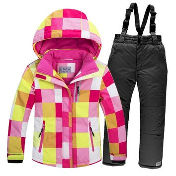 New ski jacket+pants snowsuit fur lining ski suit kids winter clothing set for boys and girls new skiing sports coat 4-16a