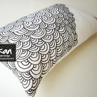 Sukan / Original Pen Hand Drawing Pillow Cover 12x20 by sukanart