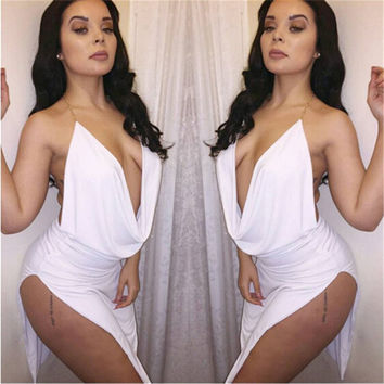 2016 new arrival pleated fashion dress women deep v neck solid double-side split sexy dresses plus size