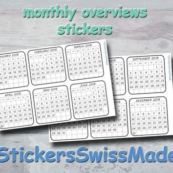 bullet journal stickers - monthly overview - small black+white stickers for one year - one sticker per month - monday or sunday start