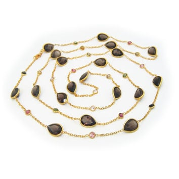 """Fronay Co, 18k Gold Plated Smoky Quartz by the Yard Necklace, 42"""""""