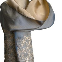 SPECIAL SALE!!! Fandori Silk Scarf with Contrasting Color - One Size