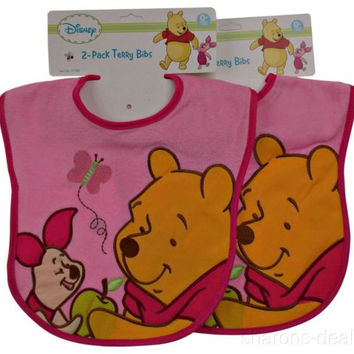 Disney 2 Pack Pink Winnie Pooh Terry Cloth Bibs 0+ Months Embroidered NEW