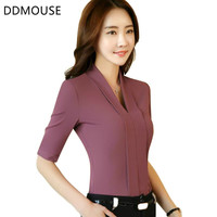 2017 New Sexy V-Neck Shirt Women OL Work Wear Formal Half Sleeve Chiffon Blouse Office Ladies Plus Size 4XL Slim Elegant Tops