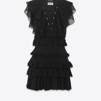 SAINT LAURENT ‎SMOCKED AND RUFFLED DRESS IN WASHED SILK CHIFFON ‎ | YSL.COM