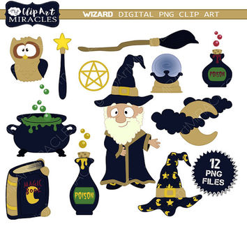 Wizard clipart, Cute wizard clip art elements, Wizard graphics, Magic party decoration kit / instant download