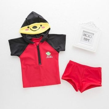 New Arrival Lovely Cartoon Style Hooded Baby boy Swimsuit/Children Two Pieces Swimwear 3081