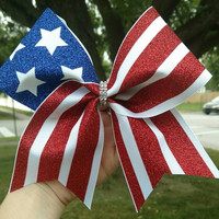 American Flag Cheer bow, Forth of July Cheer bow, red white and blue cheer bow, 4TH of July cheer bow