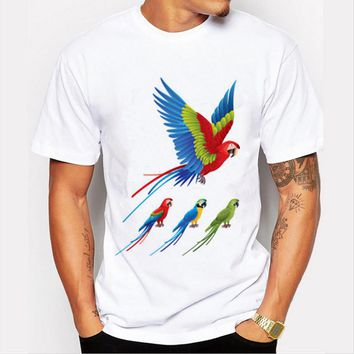 2016 Men T-shirt Fashion Novelty Colored Bird 21 Colors Prints Short Sleeved Round Neck Man Cotton Top Shirt YH-M-32
