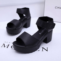 Summer shoes white Black fashion platform soft PU sandals