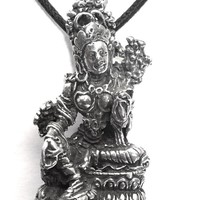 Tara Mother Goddess Compassion Buddhism Pewter Pendant Charm Necklace