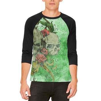 St. Patricks Day Deadly Wild Irish Rose Skull Tattoo Mens Raglan T Shirt