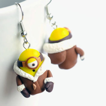 Pole Minion earrings, Eskimo Minion earrings, Minion jewelry despicable me