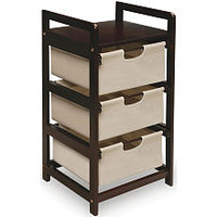 Badger Basket Three Drawer Canvas Hamper/Storage Unit - Espresso