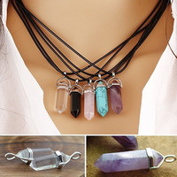 [flash Hot Sale Faux Gemstone Rock Natural Quartz Healing Point Chakra Reiki Pendant Rope Necklace = 5987988737