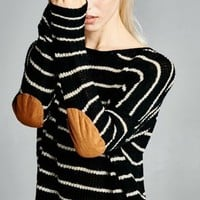 Striped Sweater with Suede Elbow Patches