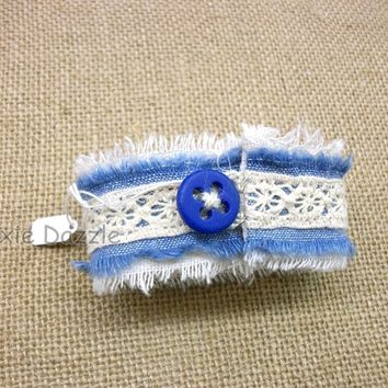 Denim and lace bracelet, fabric assemblage, textile art jewelry