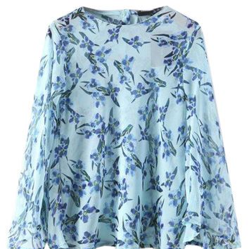 Blue Floral Button Back Flared Sleeve Chiffon Blouse